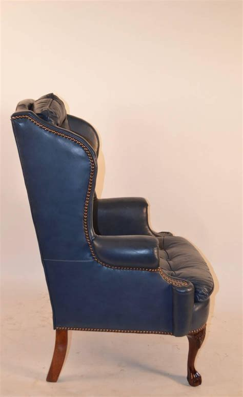 blue armchair for sale blue leather chairs for sale midnight blue leather wing