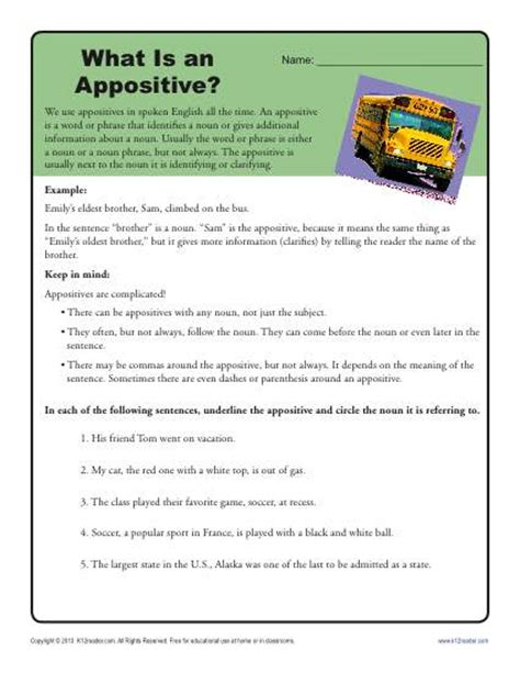 Appositive Worksheets by What Is An Appositive Printable Appositive Worksheets