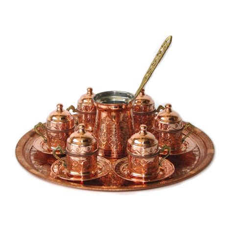 Coffee Set turkish coffee set for six with lids and tray