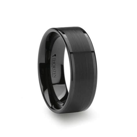 pluto flat black tungsten wedding band with brushed center