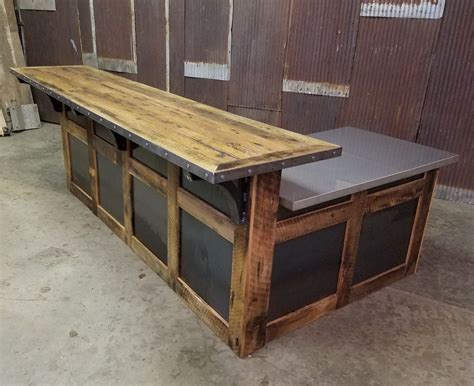 custom reception desk made reclaimed barnwood and steel reception desk by
