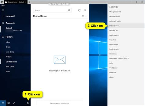 windows 10 mail app tutorial turn on or off focused inbox in windows 10 mail app