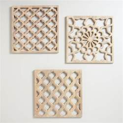 Carved Wood Wall Decor by Nathan Carved Wood Wall Panels Set Of 3 World Market