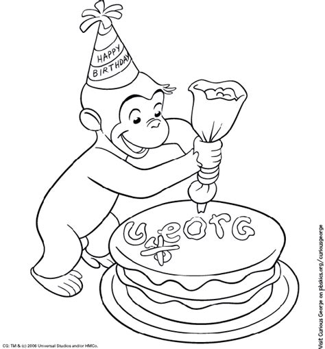 curious george coloring page birthday party pbs