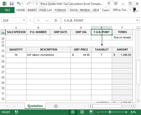 Price Quote With Tax Calculation Template For Excel Sales Tax Excel Template