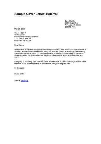 Cover Letter For Referral Modern Letter Format Best Template Collection