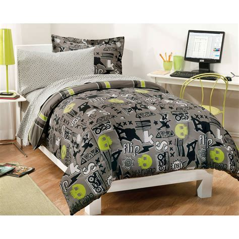 x factor black twin bedding set 5pc skateboarding skulls