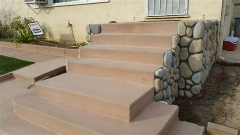 san diego buff colored concrete steps with veneer rock sides   Yelp