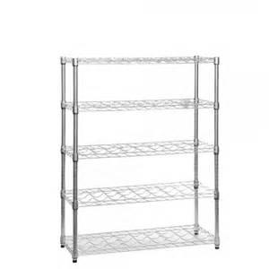 chrome wine rack with 5 shelves that holds 45 bottles of wine