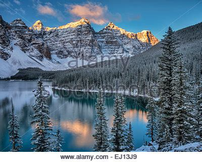 sunrise and first snow of the season on moraine lake