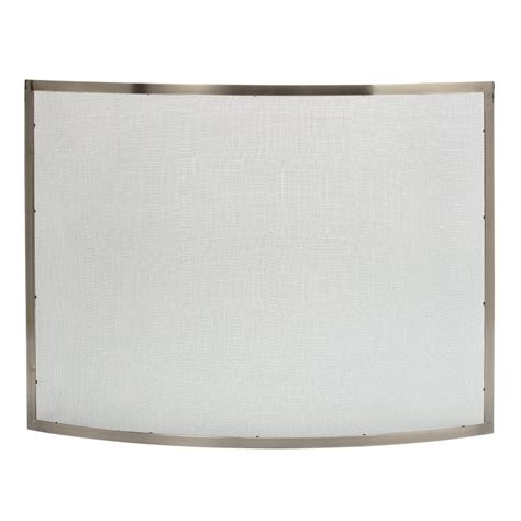 uniflame curved pewter single panel fireplace screen s