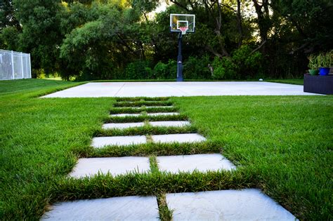 Pathway Designs natural cut flagstone pathway to basketball court