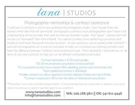 For Photographers Contracts Tana Studios Senior Photography Contract Template