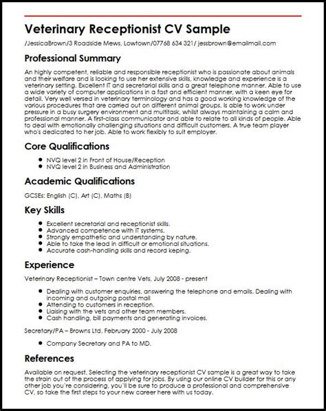 Curriculum Vitae Sle For Receptionist Veterinary Receptionist Cv Sle Myperfectcv
