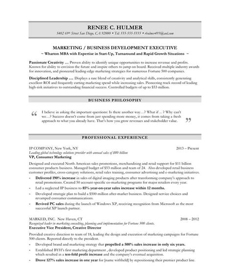 marketing executive sle resume marketing executive free resume sles blue sky resumes