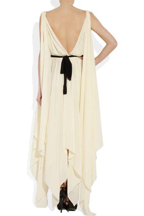 draped silk dress lyst vionnet draped silk dress in white