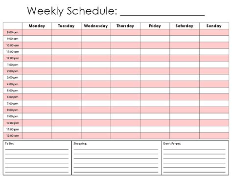 One Tiny Moment Hourly Calendar 7 Day Weekly Work Schedule Template