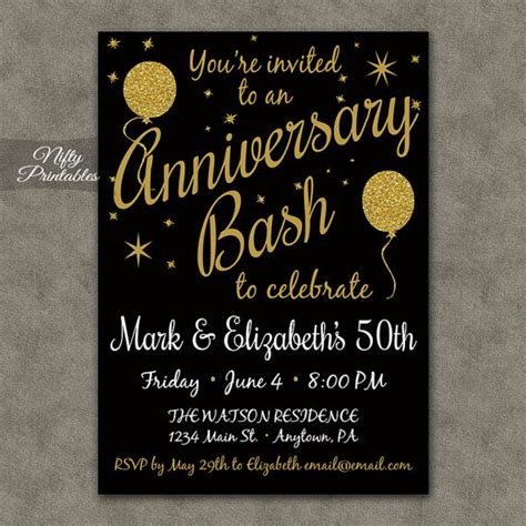 20th wedding anniversary ideas to celebrate 50th anniversary invitations printable black gold glitter