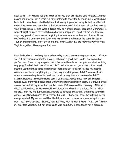 Best Divorce Letter Dear Husband Best Divorce Letter