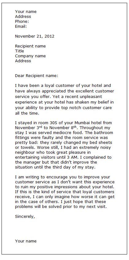 Complaint Letter To Contractor 5 Complaint Letter For Services Provided Cashier Resumes