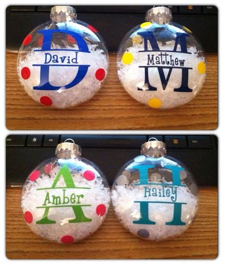 personalized christmas ornaments vinyl lettering diy