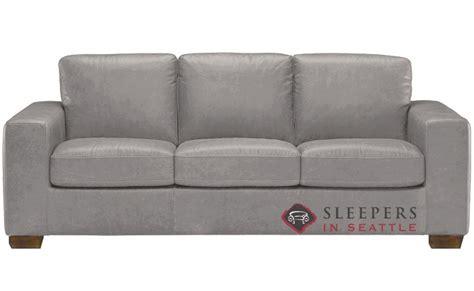 Quick Ship Rubicon B534 Queen Leather Sofa By Natuzzi Grey Leather Sleeper Sofa