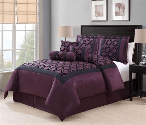 plum comforter king 7 piece elmery plum black flocking comforter set ebay