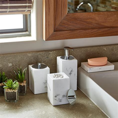 white marble countertop bathroom set  container store
