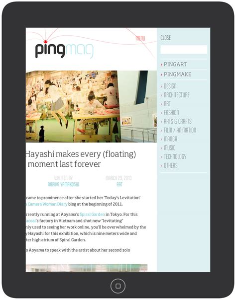 wordpress layout ipad pingmag