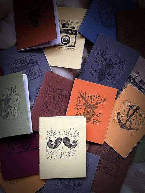 Handcrafted Notebooks - new lino printed handmade notebooks notebook planner