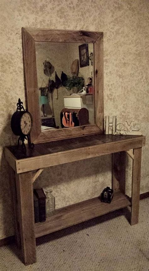 reclaimed pallets wood entryway table  mirror pallet