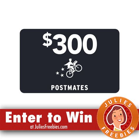 Postmates Gift Card - win a 300 00 postmates gift card freebies list freebies by mail free sles by