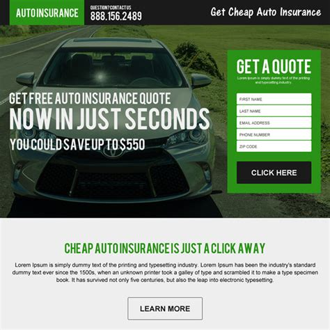 Auto insurance responsive landing page design template for