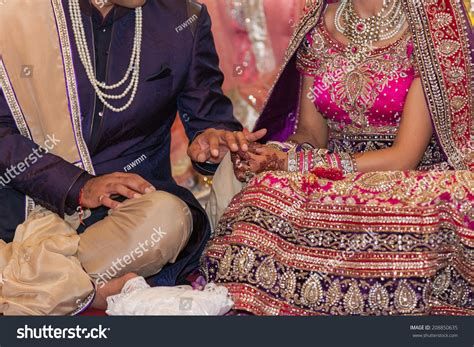 Wedding Ceremony Exchange Of Rings by Indian Wedding Ceremony Rings Exchange Stock Photo