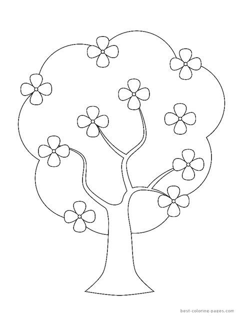 4 best images of printable tree coloring page flowers