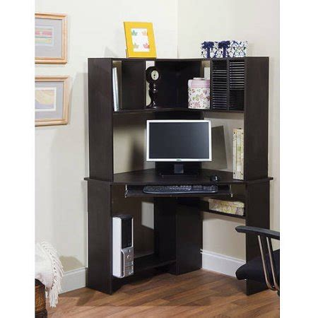 small corner desk walmart morgan corner computer desk and hutch black oak walmart com