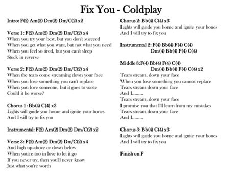 coldplay yellow testo fix you coldplay chords and lyrics by s mcsweeney