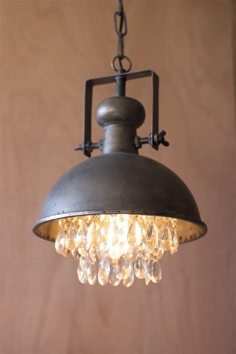 Metal Pendant Lights Metal Pendant L With Hanging Gems