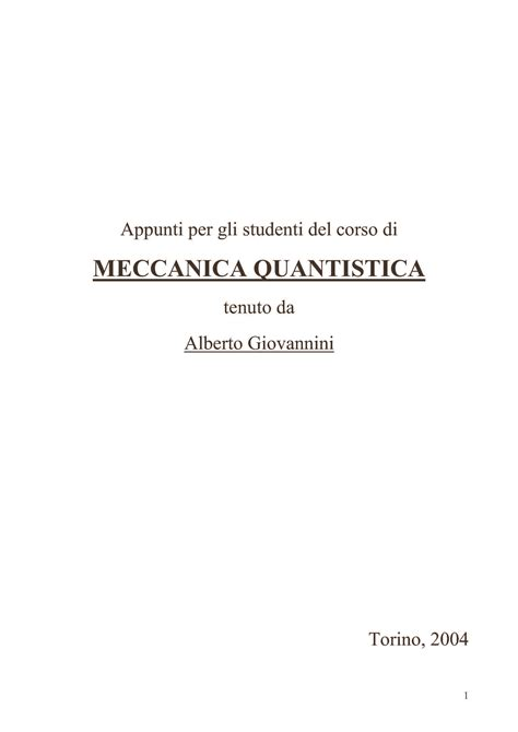 meccanica quantistica dispense meccanica quantistica introduzione dispense