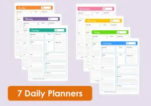 Time Management Daily Planner Templates by Printable Daily Planners Time Management 7 Sheets
