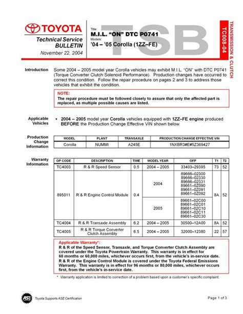 2004 Toyota Corolla Check Engine Light Codes P0741 Toyota