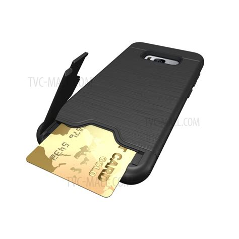 Sung Galaxy S8 Plus Phone Card Holder Kickstand Slim Phone Cover brushed plastic tpu kickstand card holder for