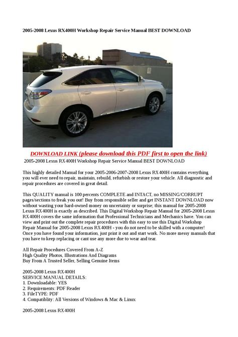 20 best images about lexus workshop service repair manual 2005 2008 lexus rx400h workshop repair service manual best