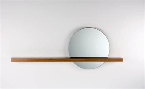 Rise/Set Mirror 18 round mirror and solid wood shelf