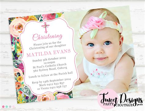 layout invitation for christening watercolor flowers christening invitation girl