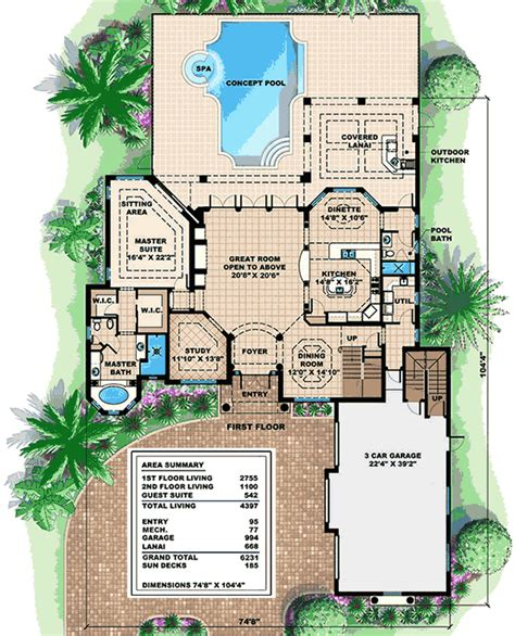 mediterranean house plan with in apartment 66335we