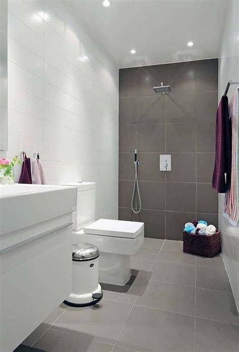 natural small bathroom design  large tiles small