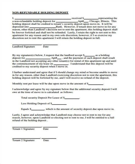 Agreement Letter For Deposit 8 Holding Deposit Agreement Form Sles Free Sle Exle Format