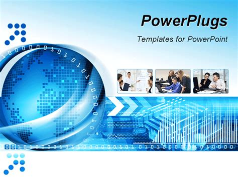 free animated business powerpoint templates technology background with computer components and world