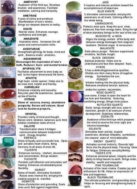 crystal properties crystals and precious stones properties chart stones